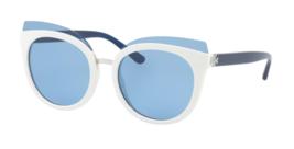 New TORY BURCH Sunglasses TY 9049 166272 Blue Ivory Cat-Eye Frame w/ Blue Lenses