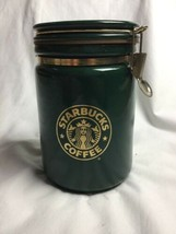 Starbucks Porcelain Coffee Canister Green & Gold Mermaid Bee House Japan... - $46.73