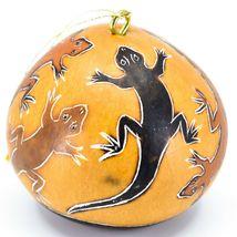 Handcrafted Carved Gourd Art Lizard Gecko Design Ornament Made in Peru image 3