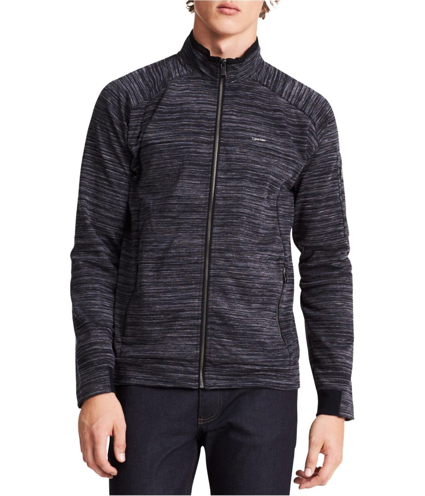 Calvin Klein Men's Space-Dye Front-Zip Jacket Black 2XL