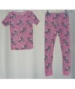 Girls Sams Club Pink Zebra Unicorns & Stars Top & Long Pants Pajamas Set Sz 6 8 - $9.95