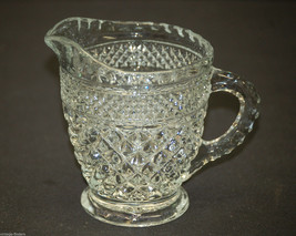 Vntage Wexford by Anchor Hocking Glass Creamer Diamond Point Criss-Cross Pattern - $14.84