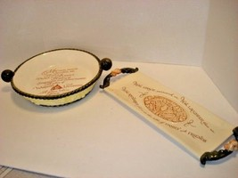 Ceramic Pie Plate and Bread Plate w/ Warm Blessing on Each, Cream/Green ... - $31.68