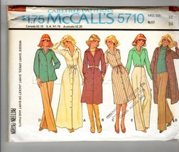 McCall's 5710 70s Shirt Dress Trench Pants Top Smock Pattern Size 14 VTG - $14.36