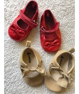 Baby Infant Girls Ballet Dress Shoes Khaki/Tan/Brown & Red Sparkle Dorot... - $22.77