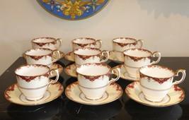Vintage Crown Staffordshire Porcelain Set of 9 Cups and Saucers - $199.00