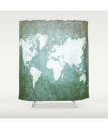 Shower curtains art shower curtain Design 55 World map Green Teal Blue L... - $68.99