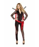 Roma Deadly Vixen Ninja Black & Red Long Sleeve Catsuit Deluxe Costume 4491 - $68.99