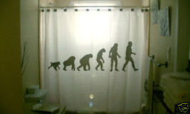 SHOWER CURTAIN Evolution of man theory Charles Darwin - $99.99