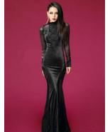 421f002BK Sexy lace & gold velvet maxi dress, fit to S/M/L, black - $53.00