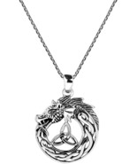 Mystical Celtic Power Of The Dragon .925 Sterling Silver Pendant Necklace - $95.53