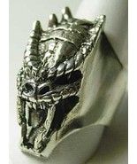 LOOK Sea water Dragon Monster Teeth Sterling silver 925 ring - $141.09