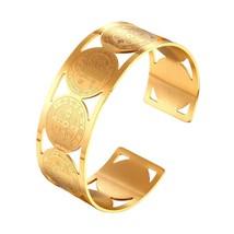 U7 Big Bangle Saint Benedict Medal Cuff Bracelet For Men Gold Color Stai... - $18.36