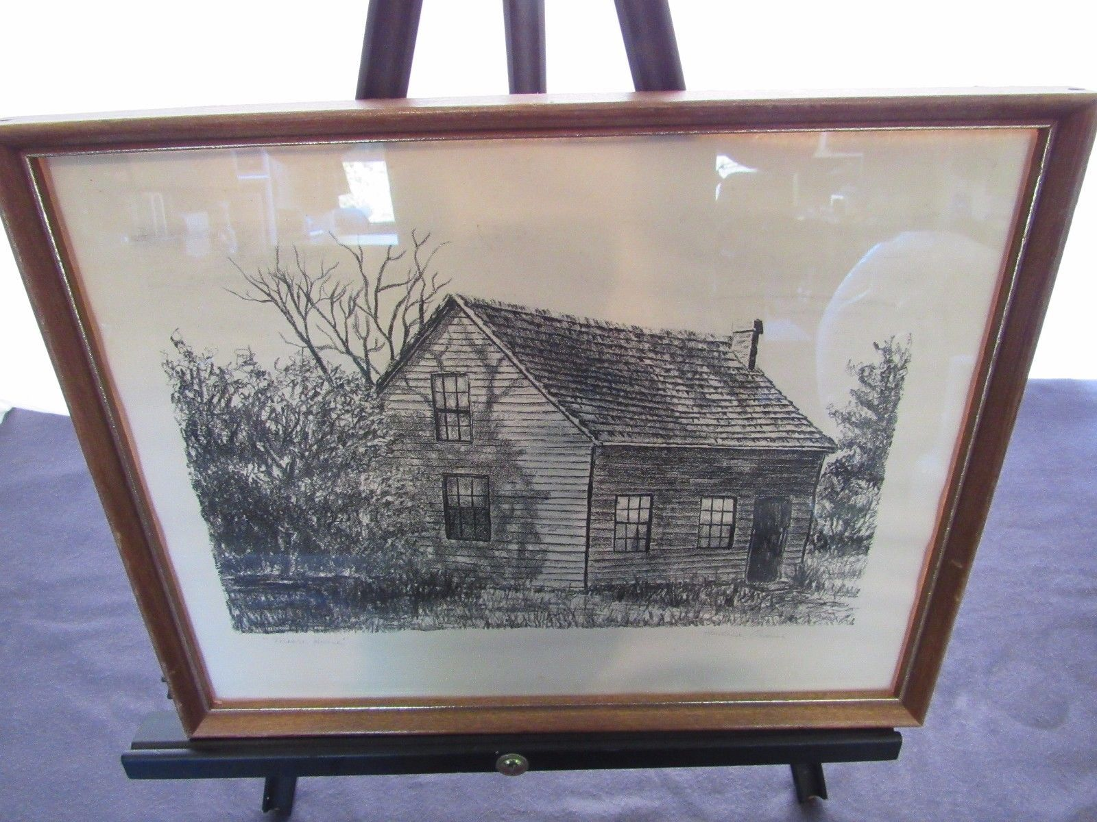 Andrea Ondish Charcoal Sketch Moore House Cabin Woods Vacation Getaway 11 x 14