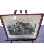 Andrea Ondish Charcoal Sketch Moore House Cabin Woods Vacation Getaway 1... - $33.48