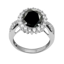 925 Silver Round Black Spinel With White Topaz Solitaire Halo Cluster Wo... - $29.78