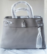 b31b044fd4c331 NWT Michael Kors Gramercy Large Pebbled Leather Satchel / Pearl Grey -  $189.75