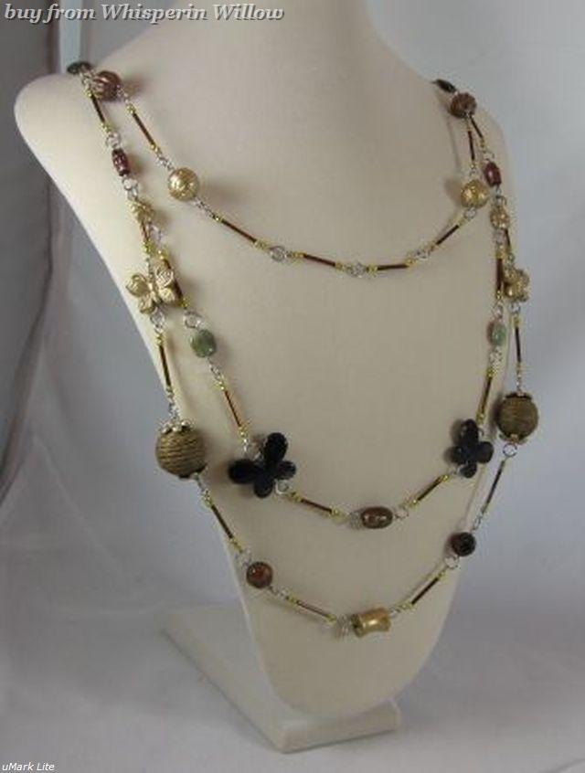Triple Strand Butterflies and Flowers Fashion Necklace