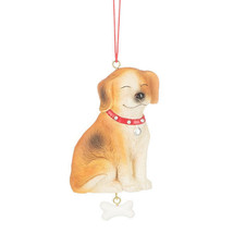 Dog w/Dangle Bone Ornament - $11.95