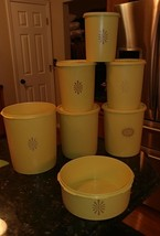 Vintage 12 pc Nesting Tupperware Kitchen 7 Containers 5 Lids Yellow Sunb... - $54.95
