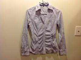 EXPRESS Button Up Blouse w Vertical Purple Stripes Sz XS