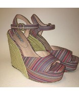 Charles David Ankle Strap Colorful Striped Espadrilles Wedge Sandals Wom... - $34.99