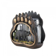Cute Rustic Mountain Cabin Black Bear Paw Salt Pepper Shaker & Holder Se... - $14.49