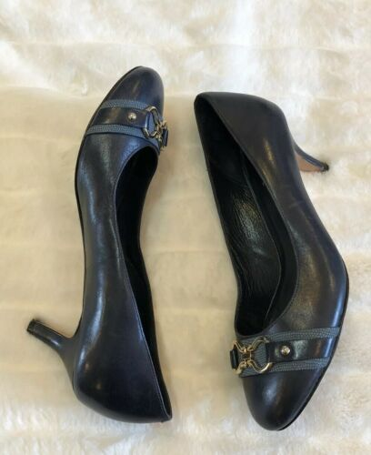 Cole Haan Navy Blue Heels Shoes Size 8.5 Buckle Cushion Short Heel