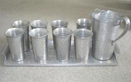 Vintage 1940s Aluminum Beverage Pitcher, Tray a... - $64.95