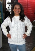 White cable pattern Sweater,made of pure Alpacawool - $95.00