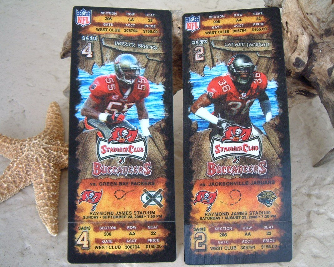 Tampa bay buccaneers stadium club ticket stubs 2008 derrick brooks jackson