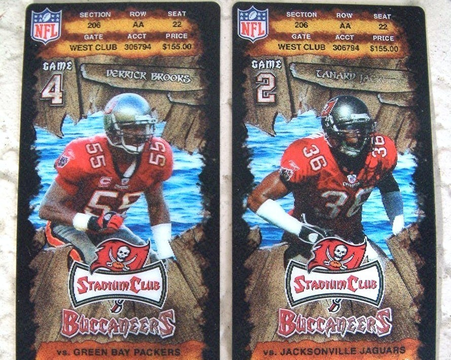 Tampa Bay Buccaneers Brooks Jackson Club Ticket Stubs 2008