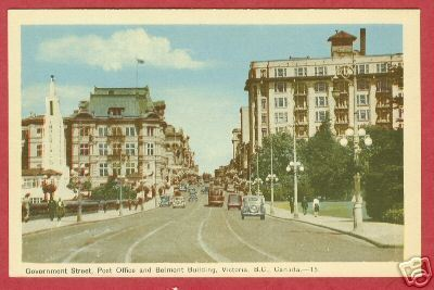 VICTORIA BC Government St PO Belmont Bldg Postcard
