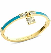 New Michael Kors MKJ3303710 Turquoise Padlock Gold Tone SS Womens Bracelet  - $48.50