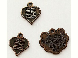 3 Asian Style Charms, Antique Gold