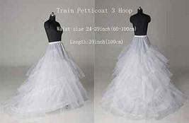 New Bridal's Train Petticoat 2 Hoop Wedding dress Hoopless Crinoline UnderS - $26.99