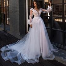 Puff Long Sleeves A-Line Appliques Floor Length Princess Beach Wedding Gown