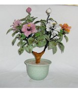 Vintage Hand-Crafted Chinese Jade Tree with Peony Flowers - $50.00