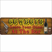 U-1403 10.5 in x 3.5 in RIVERS EDGE HOME DECOR LARGE TIN SIGN COWBOYS LE... - $9.86