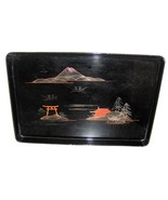 Small Vintage Japanese Black Lacquer Tray from Aizu - $15.00