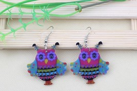 1 pair owl cute lovely printing drop earrings acrylic new 2014 design sp... - $10.00