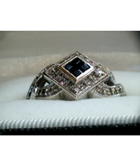 SALE SALE SALE!!!   Absolutely Stunning Blue Sapphire and Diamond Art Deco ring  - $475.00