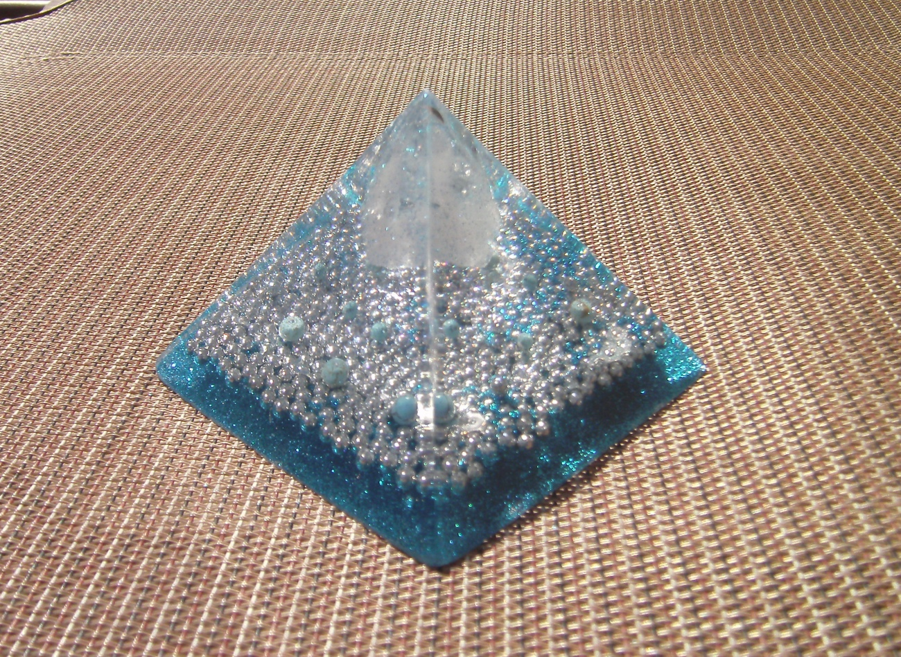 Orgone Energy Pyramid with Turquoise Beads