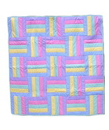 Perfectly Pastel Throw Quilt, handmade OOAK lap... - $155.00