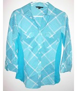 ZAC & RACHEL Shirt SMALL Button Front Diagonal Gingham Teal White Women  - $16.82