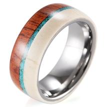 Men's Antler Wedding Ring Turquoise Tungsten Wedding Band with Wood Antler Ring - $25.80