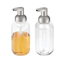 mDesign Foaming Soap Dispenser Pump - Pack of 2, Clear/Brushed Nickel - $15.71