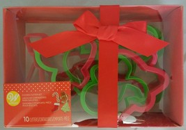 Wilton 10pc Plastic Holiday Cookie Cutter Set Red/Green Gingerbread Tree Snowman - $9.89