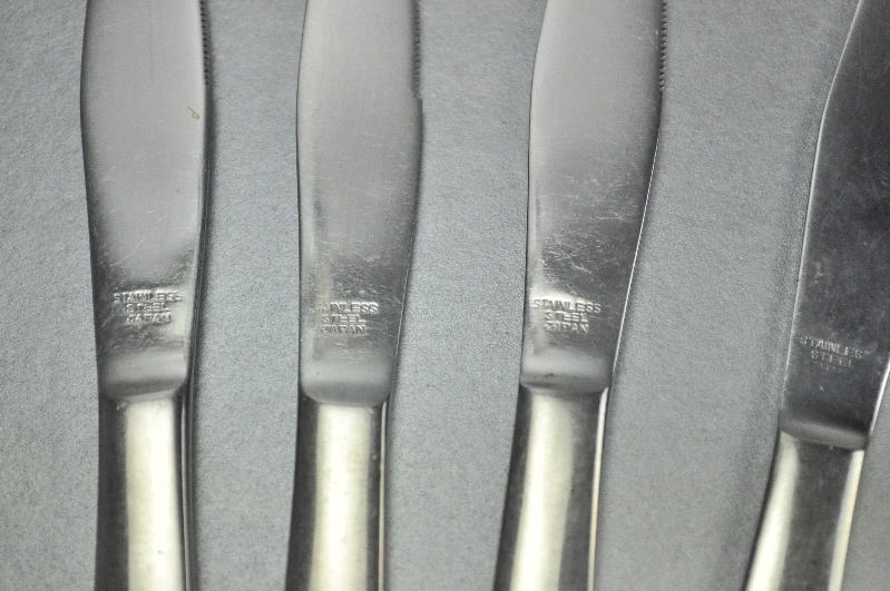 Retro Full Stainless Steel Set of 6 Serrated Steak Knives Japan