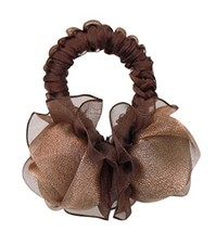 Elegant Rose Hair Rope Ponytail Holders Hair Headwear, Brown